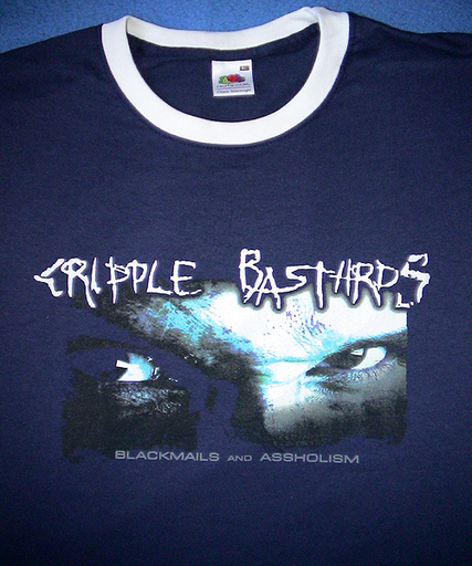 CRIPPLE BASTARDS - Blackmails And Assholism T-shirt Blue Ringer