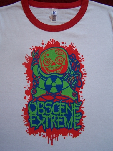 OBSCENE EXTREME 2012 - Happy Skull - Girlie - Ringer White TS