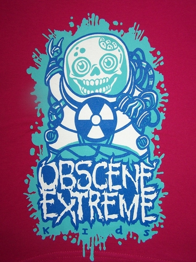 OBSCENE EXTREME 2012 - Happy Skull - KIDS dark Pink TS