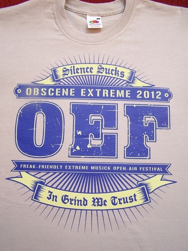 OBSCENE EXTREME 2012 - OEF Logo / 14 Years - Grey TS