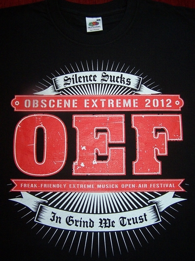 OBSCENE EXTREME 2012 - OEF Logo / 14 Years  - Black TS