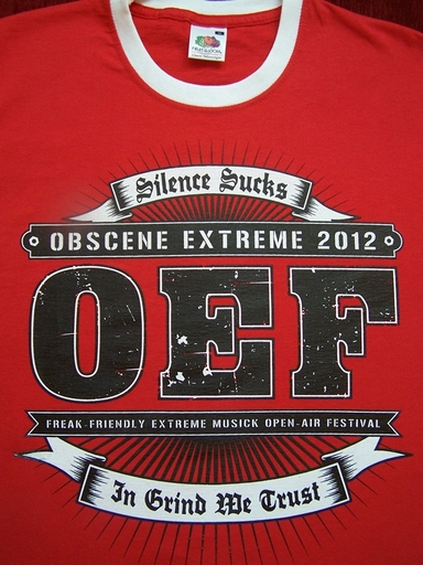 OBSCENE EXTREME 2012 - OEF Logo / 14 years - Ringer Red TS