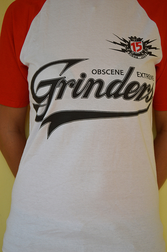OBSCENE EXTREME 2013 - Grinders / Bands - Baseball Red TS