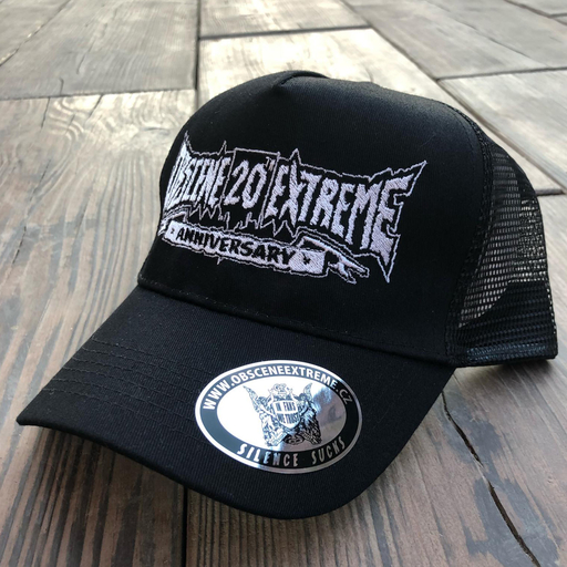 OBSCENE EXTREME 2018 - 20th ANNIVERSARY - TRUCKER HAT BLACK/BLACK