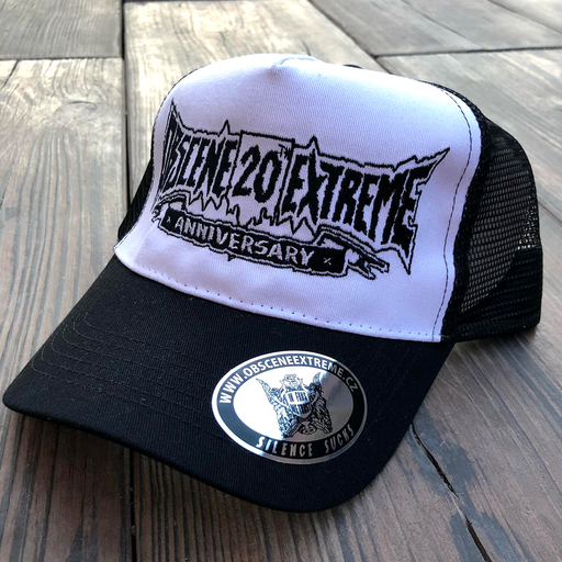 OBSCENE EXTREME 2018 - 20th ANNIVERSARY - TRUCKER HAT WHITE/BLACK