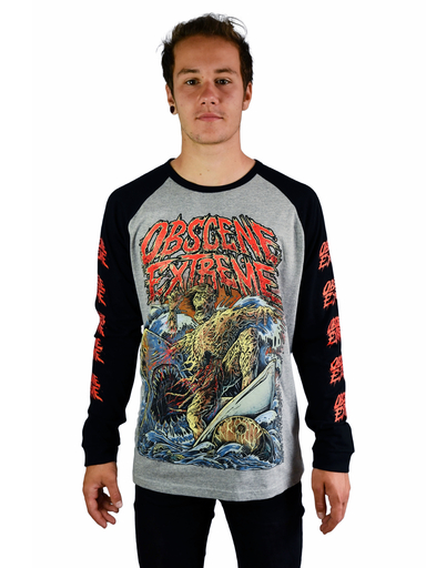 OBSCENE EXTREME 2019 – TOXIC SURFER – BASEBALL LONG SLEEVE GREY/BLACK TS
